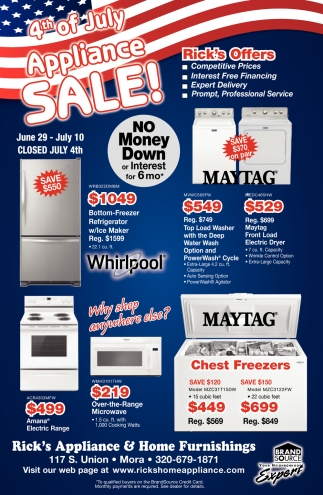 4th of July Appliance Sale!