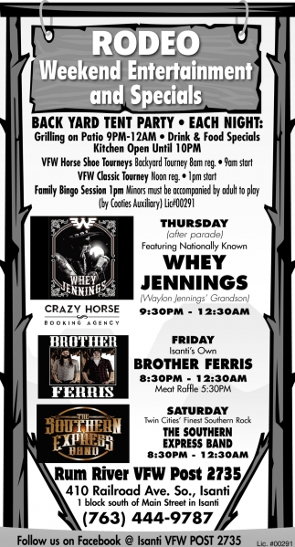 Rodeo Weekend Entertainment and Specials
