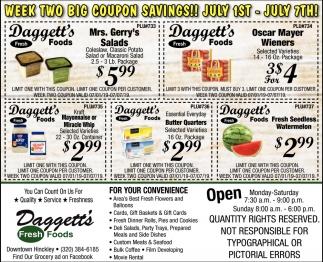 Week Two Big Coupon Savings!