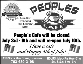 People's Cafe Will be Closed July 3rd - 9th and Will Re-Open July 10th