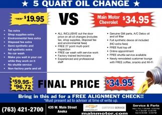 5 Quart Oil Change