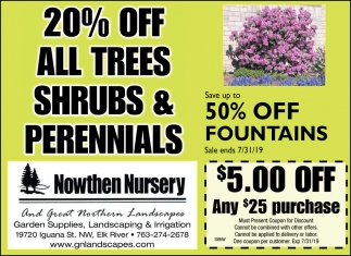 20% OFF All Trees Shrubs & Perennials