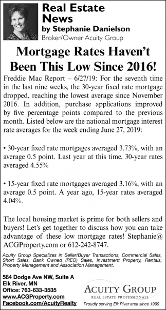 Mortgage Rates Haven't Been this Low Since 2016!