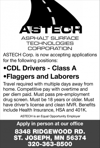 CDL Drivers - Class A & Flaggers & Laborers