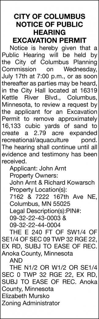 Notice of Public Hearing Excavation Permit