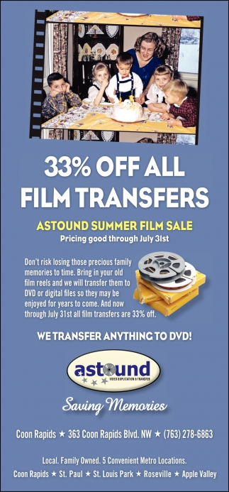 33% OFF Video Transfers. Every 5th Tape FREE!