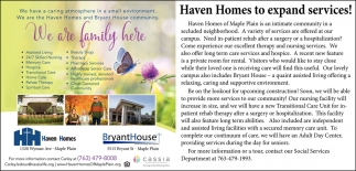 Haven Homes to Expand Services!