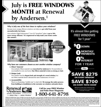 July is FREE Windows Month at Renewal by Andersen