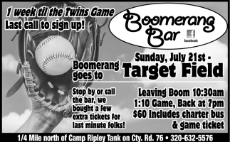 1 Week Til the Twins Game Last Call to Sign Up!