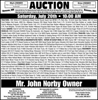 Auction Saturday, July 20th