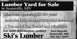 Lumber Yard for Sale in Swanville, MN