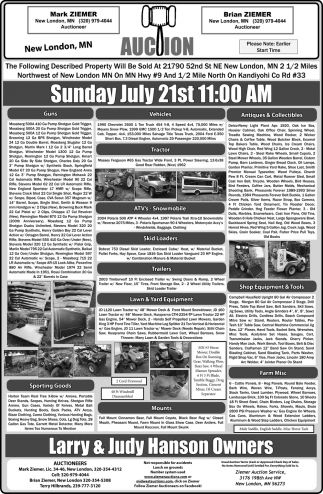 Auction Sunday July 21st