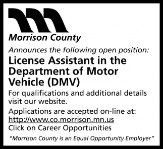 License Assistant in the Department of Motor Vehicle