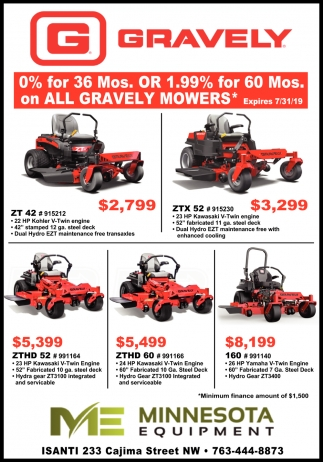 0% for 36 Mos. Or 1.99% for 60 Mos. On All Gravely Mowers