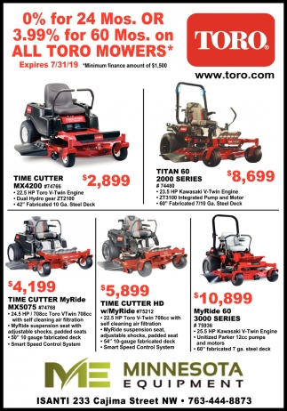 0% for 24 Mos. or 3.99% for 60 Mos. On All Toro Mowers