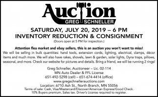 Auction Saturday, July 20, 2019