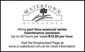 Hiring Part Time Seasonal Winter Maintenance Assistant