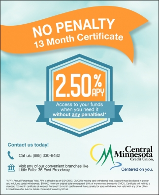 No Penaly 13 Month Certificate