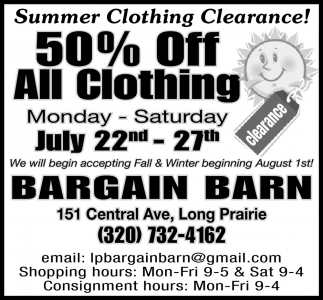 Summer Clothing Clearance!