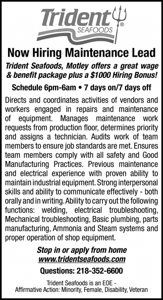 Now Hiring Maintenance Lead
