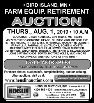Farm Equp. Retirement Auction