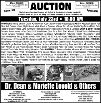 Auction Tuesday, July 23rd