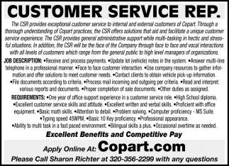 Copart Customer Service Number >> Customer Service Rep Copart Avon