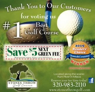 Thank You to Our Customers for Voting Us Best Golf Course