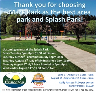 Thank You for Choosing Mark Park as the Best Area Park and Splash Park!