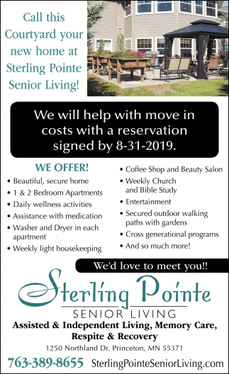 Call this Courtyard Your New Home at Sterling Pointe Senior Living!