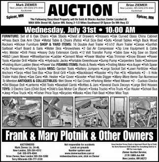 Auction Wednesday, July 31stw