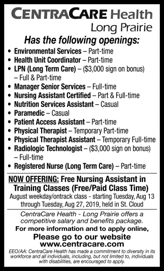 CentraCare Health Has the Following Openings