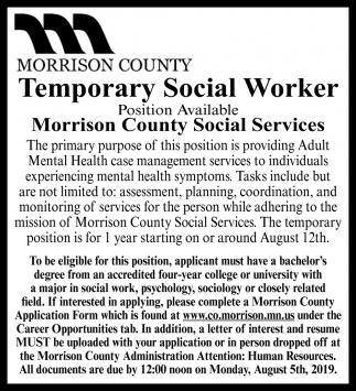Temporary Social Worker