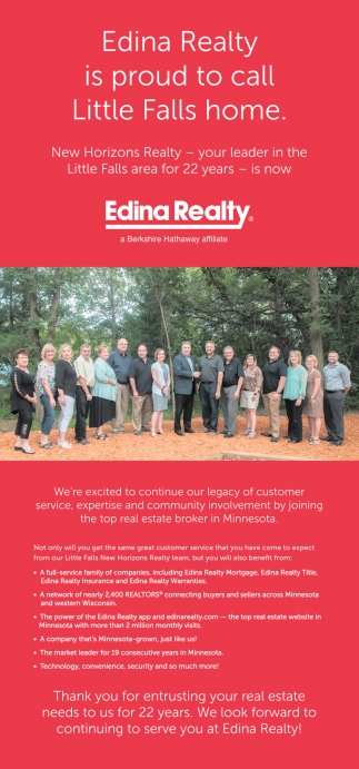 Edina Realty is Proud to Call Little Falls Home
