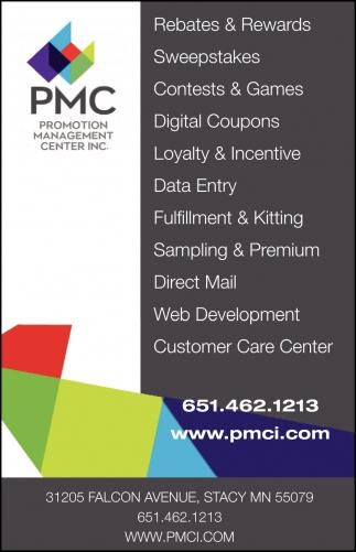 Rebates & Rewards, PMC - Promotion Management Center, Stacy, MN
