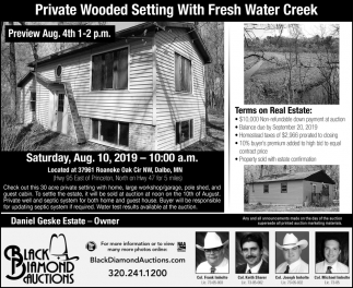 Private Woodsen Setting with Fresh Water Creek