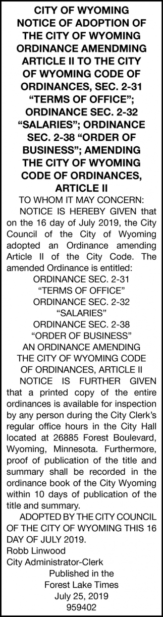 Notice of Adoption of the City of Wyoming Ordinance