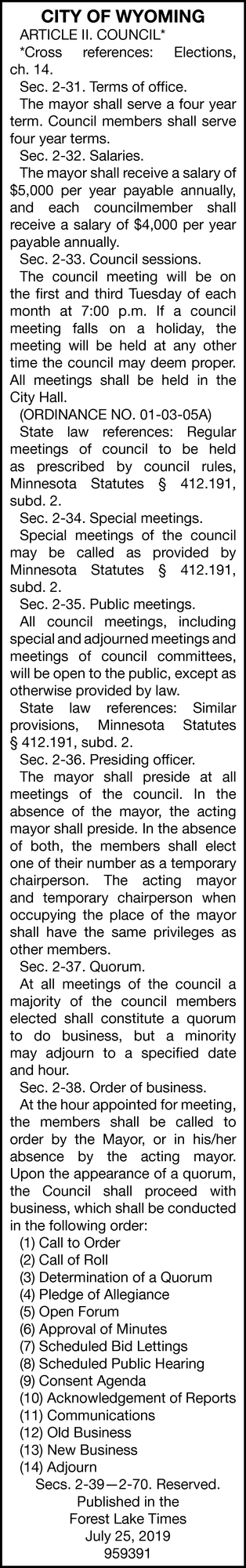 Article II. Council*