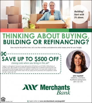 Thinking About Buying, Building or Refinancing?