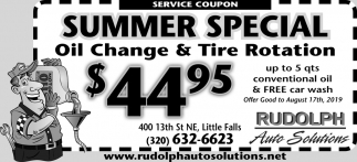 Summer Special Oil Change & Tire Rotation