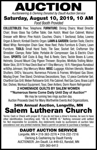 Auction Saturday, August 10, 2019