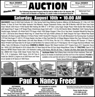 Auction Saturday, August 10th