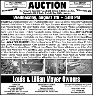 Auction Wednesday, August 7th