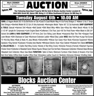 Auction Tuesday August 6th