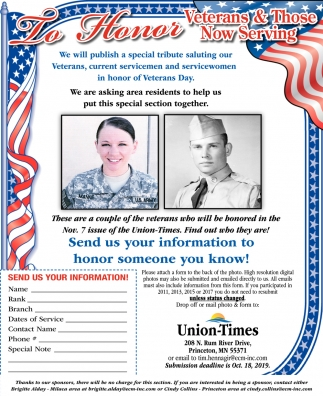 Send Us Your Information to Honor Someone You Know!