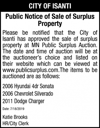 Public Notice of Sale Surplus Property