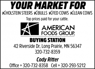 Your Market for Holstein Steers, Bulls, Fed Cows, Lean Cows