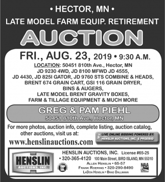 Late Model Farm Equip. Retirement Auction