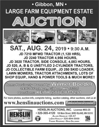 Large Farm EQuipment Estate Auction