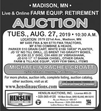 Live & Online Farm Equip. Retirement Auction
